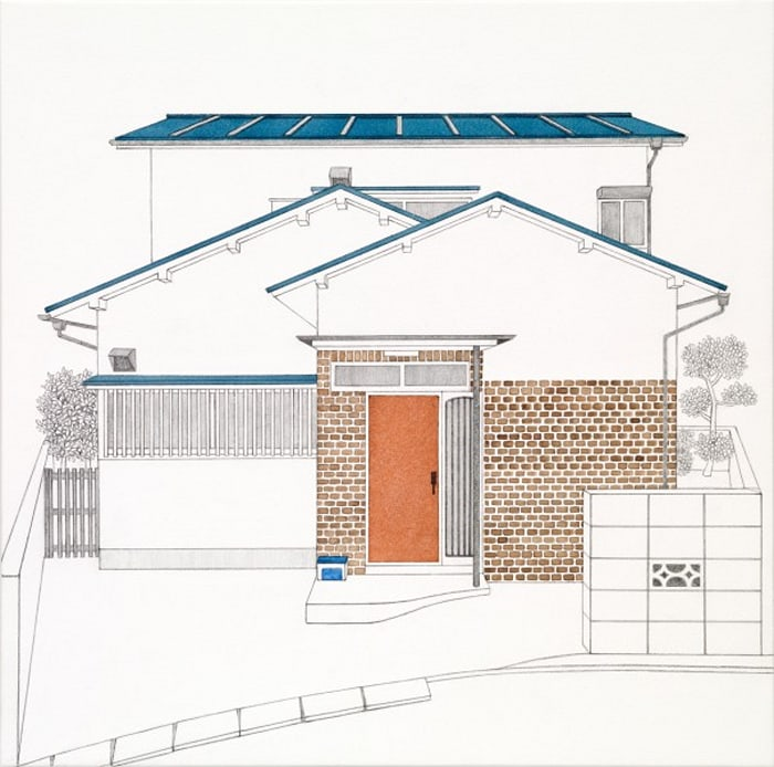 House - Blue Roof and Red Door by Yukiko Suto