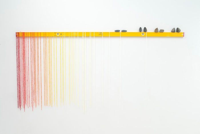 Eight Foot Fade (Cadmium Yellow) by Sarah Sze