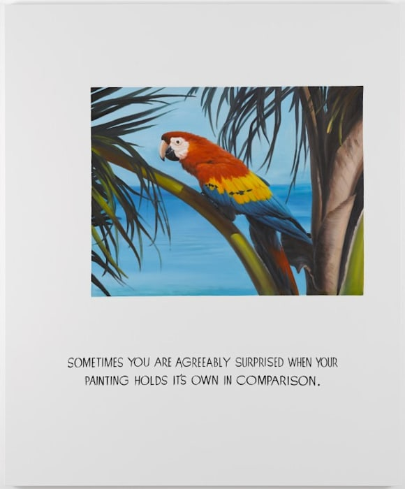 Parrot Painting 03 (Sometimes you are agreeably surprised when your painting holds its own in comparison) by Jonathan Monk