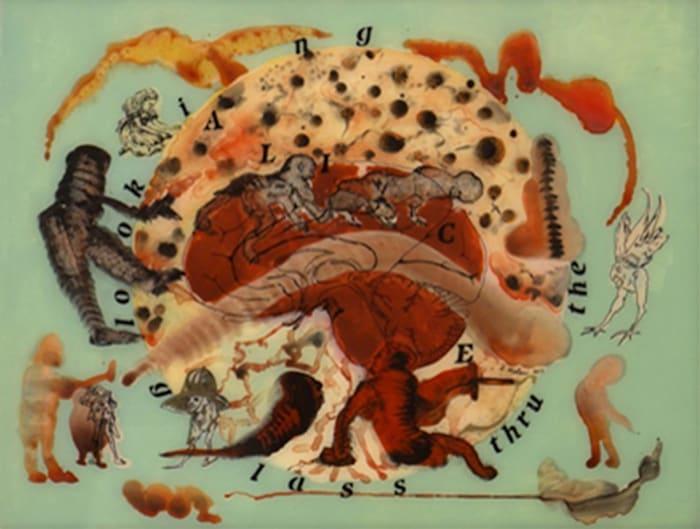 Alice thru the Looking Glass (Copper Brain Map) by Nalini Malani