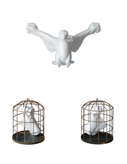 Dove with revolution hand by Moe Satt