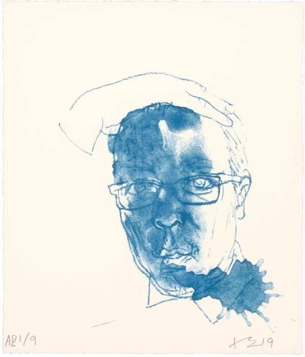 Blue Self Portrait by Liu Xiaodong