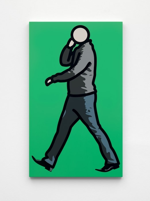 Man in jumper with telephone. by Julian Opie