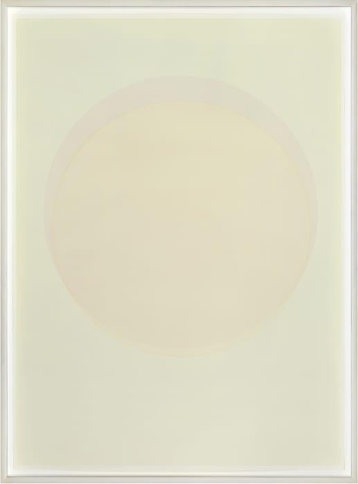 Large watercolour orange circle by Olafur Eliasson