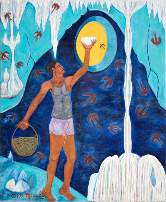 Taong Kumukuha ng pugad ng balinsasayaw (Man Gathering the Swift Bird's Nest) by David Medalla