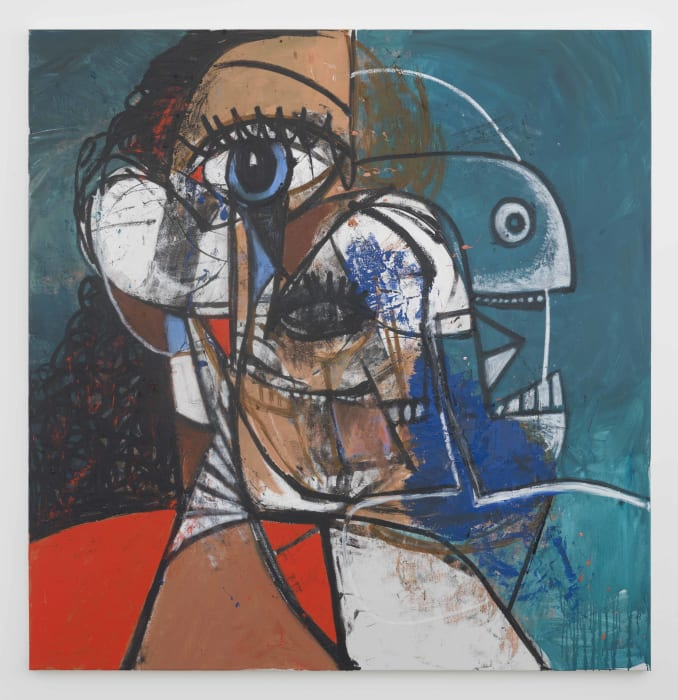 Red and Blue Diagonal Portrait by George Condo