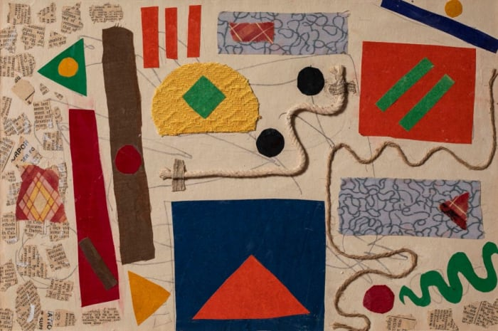 Abstract Composition with string and Fabric by Benodebehari Mukherjee