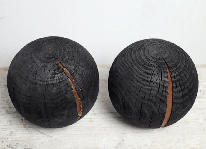 balls from wood by Adel Abdessemed