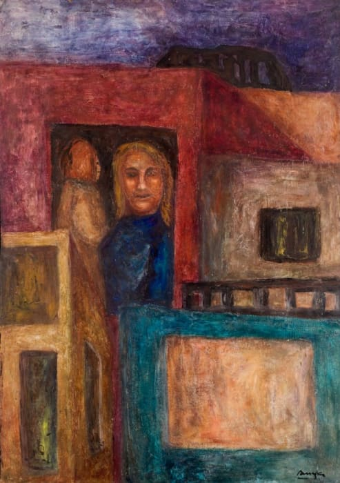 Untitled (Figurative cityscape with a woman and a man in the door of a balcony) by Teresa Burga