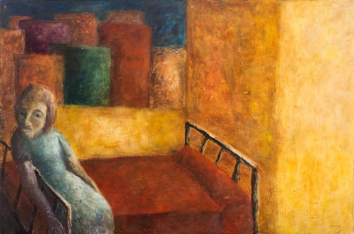 Untitled (Horizontal figurative scene with a woman sitting on the bed) by Teresa Burga