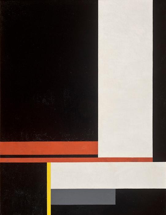 1927 oder Komposition auf schwarzem Grund by Walter Dexel