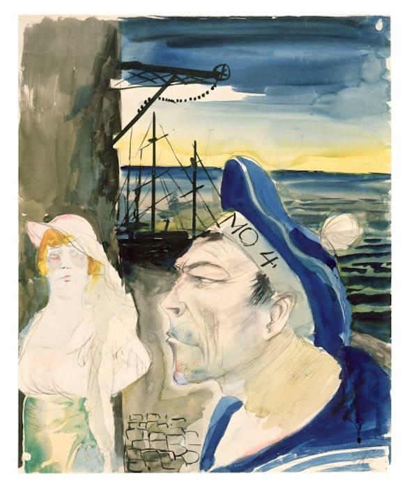 Hafenszene/Harbor Scene by Otto Dix