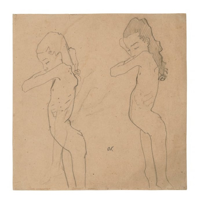 Zwei Aktstudien nach Lilith Lang im Profil/Two Nude Studies of Lilith Lang in Profile by Oskar Kokoschka