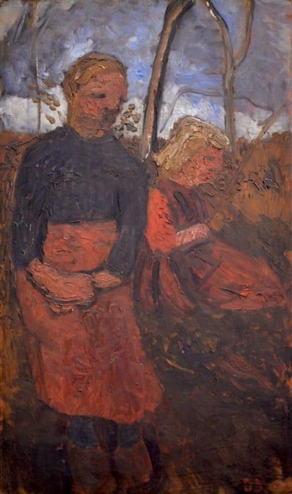 Zwei sitzende Mädchen in der Landschaft/Two Girls Sitting in Landscape by Paula Modersohn-Becker