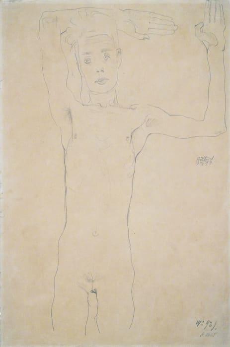 Stehender männlicher Akt mit erhobenen Armen (Selbstbildnis) (Standing Male Nude with Raised Arms (Self-Portrait)) by Egon Schiele