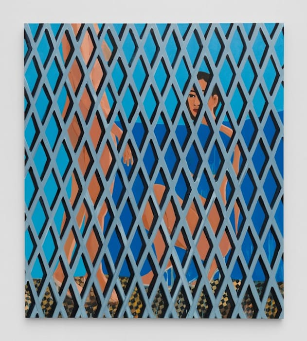 Compression and Fragmentation (Double Figure/Checkered Floor) by Becky Kolsrud
