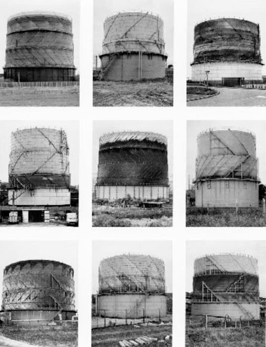 Typology Gas Tanks by Bernd & Hilla Becher