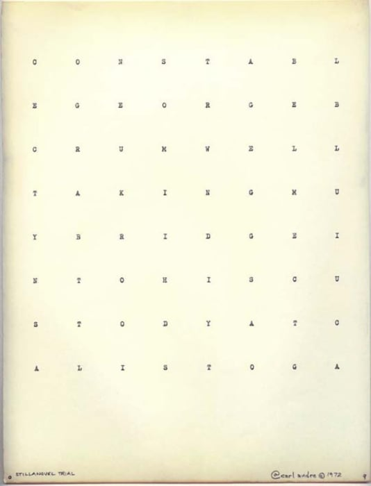 Stillanovel Trialm#9 by Carl Andre