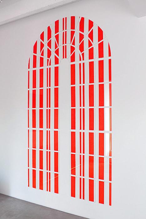 Collage sur / sous verre (documenta window) by Daniel Buren