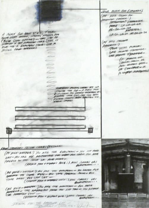 """Drawing for """"The American Gift"""" by Vito Acconci"""