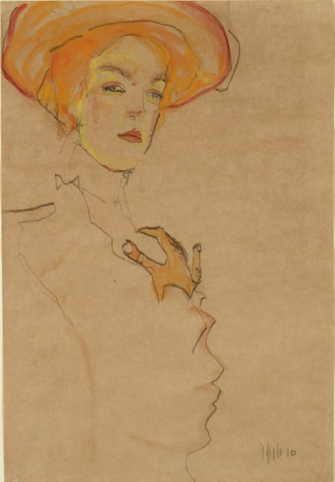 Gerti (the artist's sister) in an Orange Hat by Egon Schiele