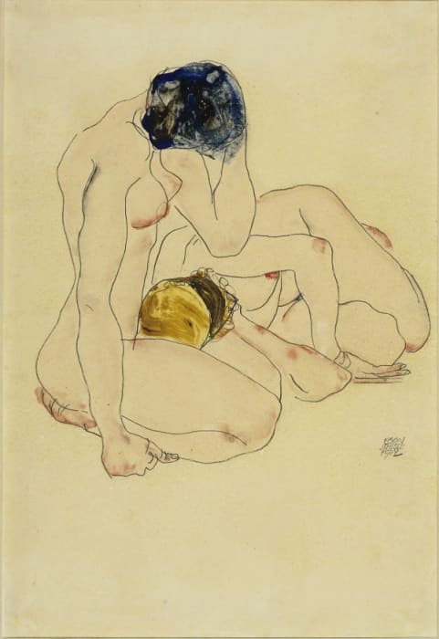Two Friends by Egon Schiele