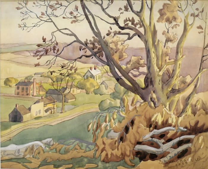 Landscape with Valley and Trees by Charles Burchfield