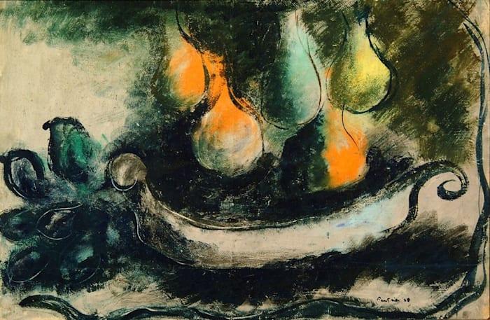 Poires dans une vasque by Jean Fautrier