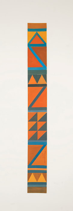 B7- Bedouin kilim pattern with 2 orange triangles at the bottom by Chant Avedissian