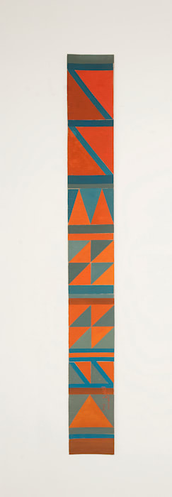 B8- Bedouin kilim pattern with 1 red triangle at the bottom by Chant Avedissian
