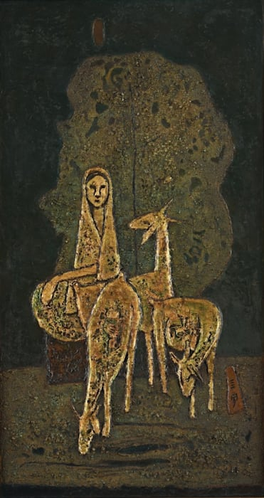Malay Woman with Three Goats by Soo Pieng Cheong