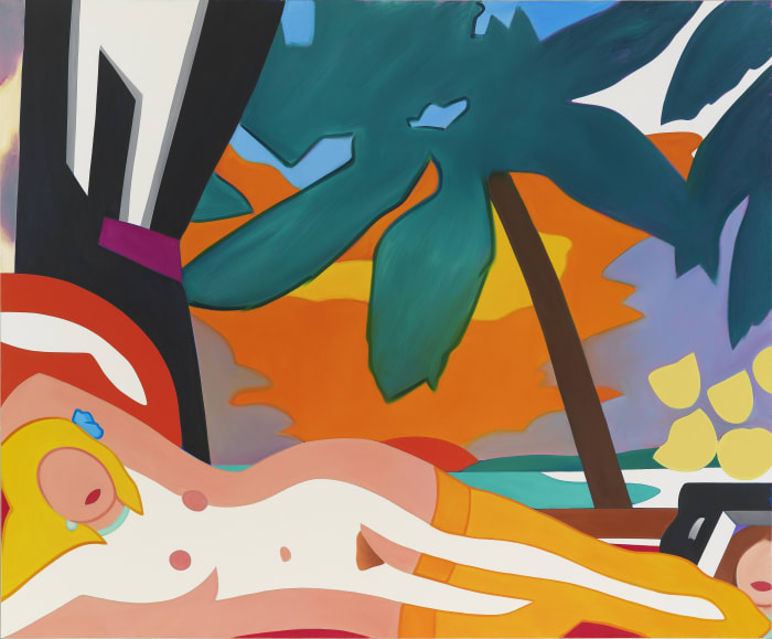Sunset Nude with Big Palm Tree by Tom Wesselmann