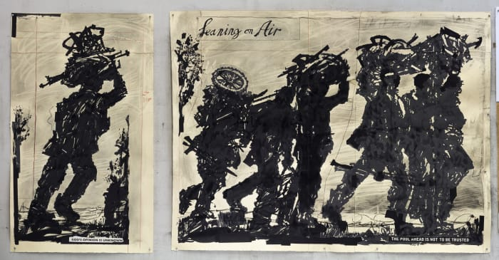 Refugees I & II: (Leaning On Air & God's Opinion is Unknown) by William Kentridge