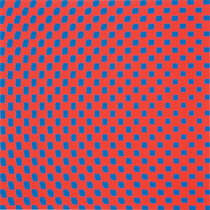 3 trames de carrés réguliers pivotées sur le côté by François Morellet