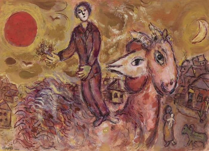 Coucher de soleil et coq au double-profil (Le souvenir de la ville) by Marc Chagall