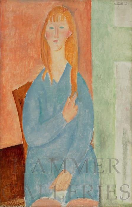 Jeune fille assise, les cheveux dénoués (Jeune fille en bleu) by Amedeo Modigliani