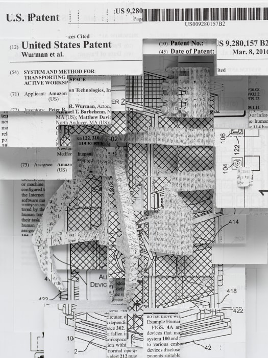 """""""Document relief 3 (Amazon Worker Cage patent)"""" by Simon Denny"""