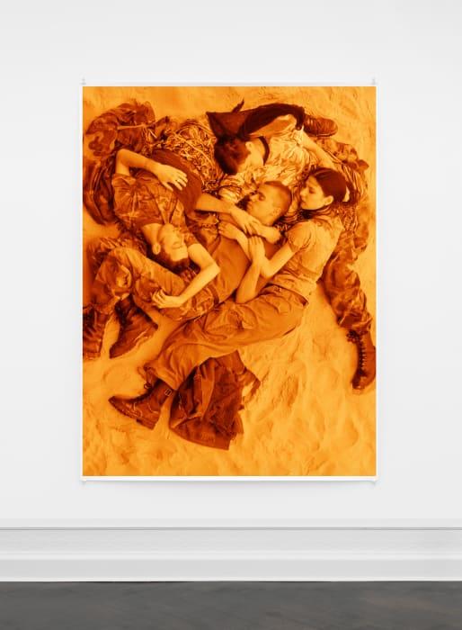 """Lutz, Alex, Suzanne & Christoph on beach (orange)"" by Wolfgang Tillmans"