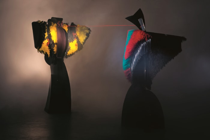 Conjunction of Opposites: Woman of War and Lady of the Wild Things by Liliane Lijn