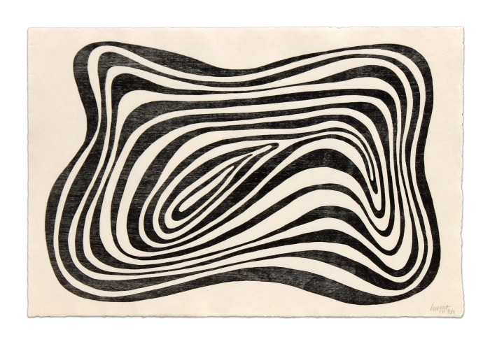 Concentric Irregular Black and White Bands by Sol LeWitt