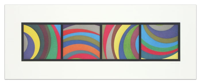 Irregular Arcs from Four Sides (with Black Border) by Sol LeWitt