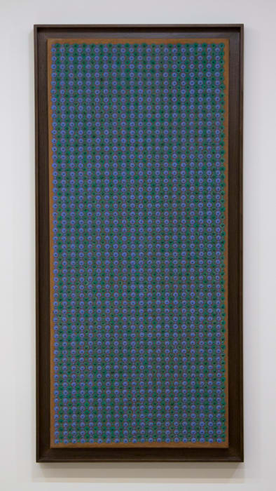 Interpenetração verde-azul sobre marrom by Almir Mavignier