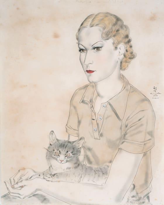 Youki with cat by Leonard Tsuguharu Foujita