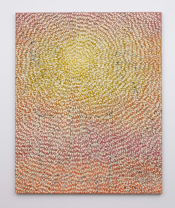 Offerings to the Sun (Painted Sand SF #1F, Pink, Yellow, Orange Gradient, White) by Jennifer Guidi