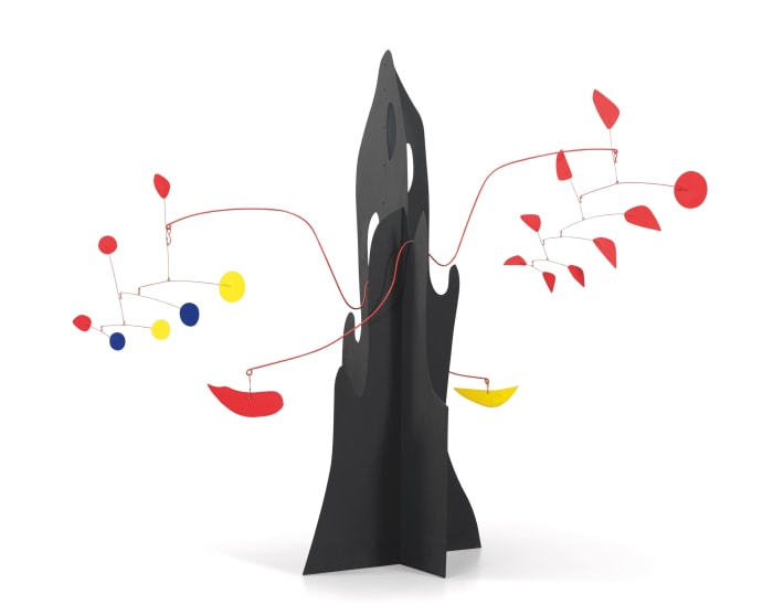 Crag with Yellow Boomerang and Red Eggplant by Alexander Calder