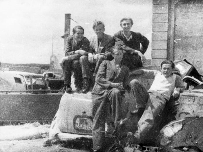 With my new friends just after arriving in Wiesbaden D.P. Camp, 1945 by Jonas Mekas