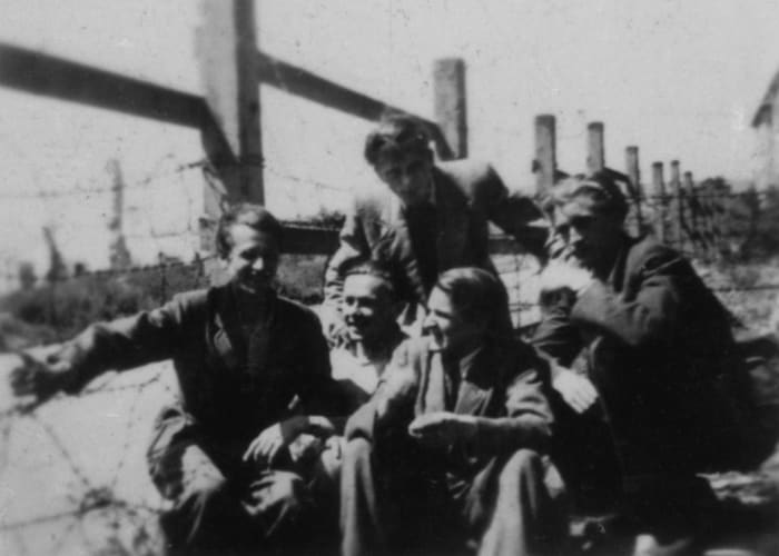 Myself with my new friends just after arriving in Wiesbaden D.P. Camp, 1945 by Jonas Mekas