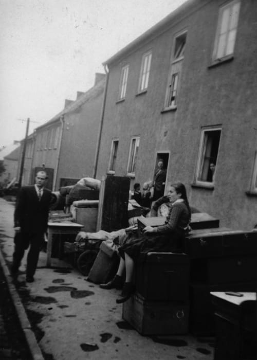 Waiting to be transported to another camp, Kassel/Mattenberg, 1948 by Jonas Mekas