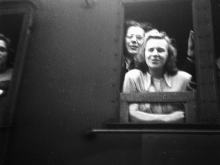 After four years in the camp, finally they are leaving. For Canada! Kassel/Mattenberg D.P. Camp, 1949 by Jonas Mekas