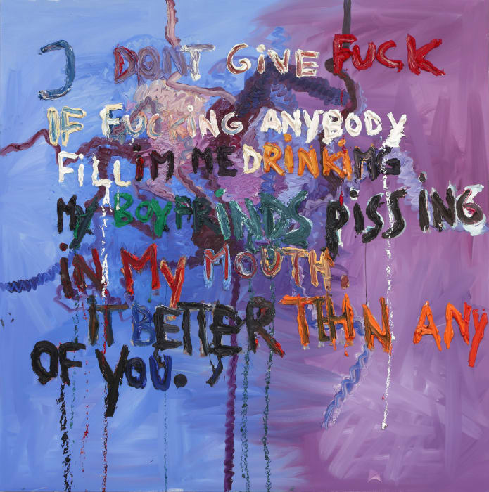 Untitled (I dont give fuck if fucking anybody fill Im me drinking my boyfriends pissing in my mouth. It better tehn any of you.) by Bjarne Melgaard